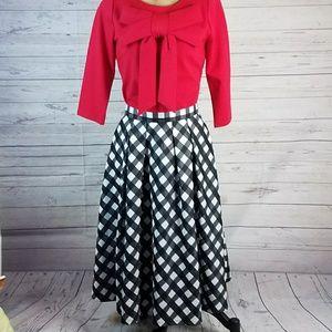 Talbots Buffalo Plaid Pleated High Waist Skirt